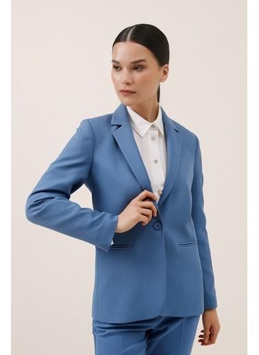 Gusto Tek Düğme Blazer Ceket - Mavi Tek Düğme Blazer Ceket - Mavi Mavi